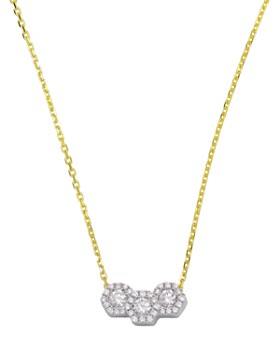 Frederic Sage - 18K White & Yellow Gold Firenze Triple Hexagonal Diamond Pendant Necklace, 16""
