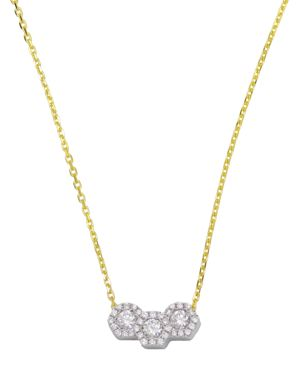 Frederic Sage 18K White & Yellow Gold Firenze Triple Hexagonal Diamond Pendant Necklace, 16