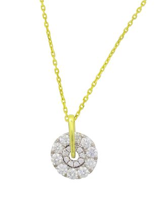 FREDERIC SAGE 18K WHITE & YELLOW GOLD FIRENZE SMALL SPINNING DIAMOND CLUSTER PENDANT NECKLACE, 16