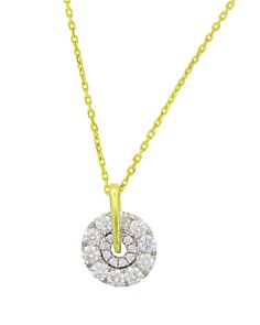"""Frederic Sage - 18K White & Yellow Gold Firenze Small Spinning Diamond Cluster Pendant Necklace, 16"""""""