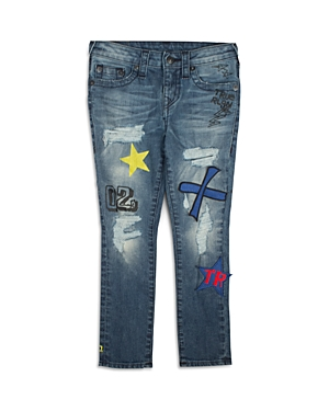 True Religion Boys Distressed Skinny Jeans with Patches  Little Kid Big Kid