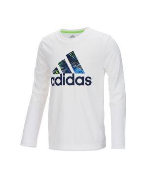 Adidas Boys' Long-Sleeve Printed-Logo Tee - Little Kid