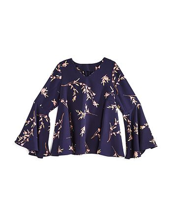 AQUA - Girls' Floral Top with Bell Sleeves, Big Kid - 100% Exclusive