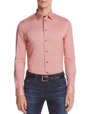 Armani Collezioni Patterned Check Classic Fit Button-Down Shirt