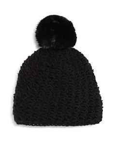 Surell - Girls' Star-Knit Beanie with Fur Pom-Pom