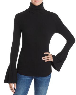 Kenzie Bell Sleeve Turtleneck, Black