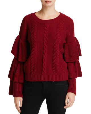 $Elan Tiered Ruffle Sleeve Sweater - Bloomingdale's