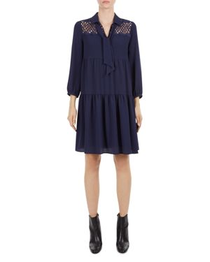 Gerard Darel Naomi Lace-Yoke Tie-Neck Tiered Babydoll Dress