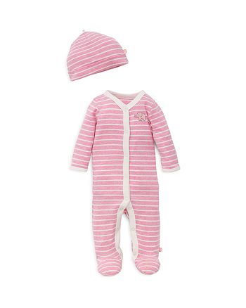 Offspring - Girls' Striped Embroidered-Elephant Footie & Hat Set - Baby