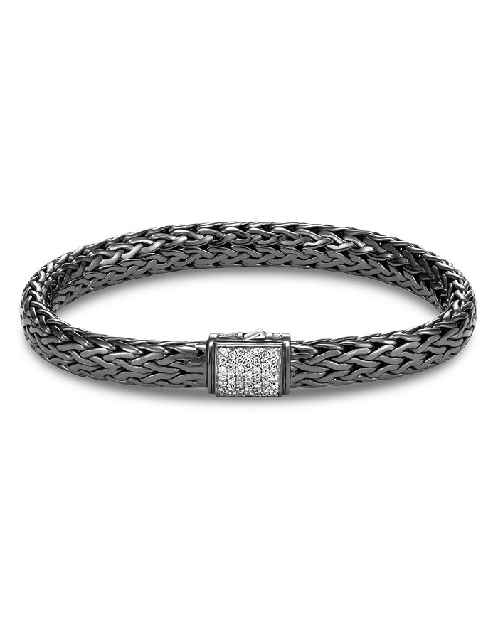 John Hardy Blackened Sterling Silver Classic Chain Pave Diamond Medium Bracelet