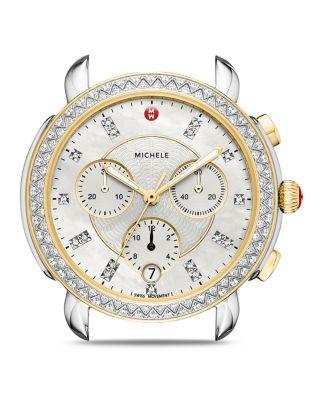 Sidney Chrono Diamond Diamond Dial Watch Case, 38Mm in Silver/ Mop/ Gold