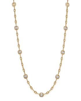 Roberto Coin - 18K White & Yellow Gold New Barocco Diamond Square Station Link Necklace, 30""