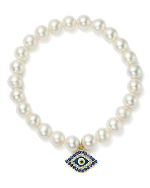 Bloomingdale's Cultured Freshwater Pearl, Sapphire & Diamond Evil Eye Charm Stretch Bracelet in 14K