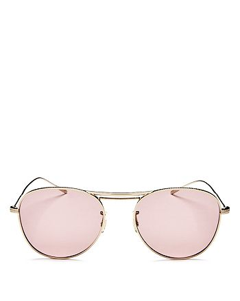 Oliver Peoples - Women's Brow Bar Round Sunglasses, 51mm