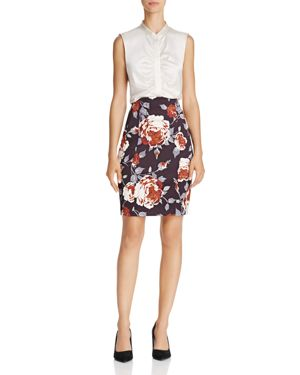Theory Victoria Hourglass Floral Print Skirt