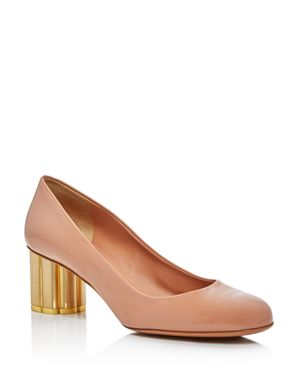 Salvatore Ferragamo Women's Flower Heel Patent Leather Pumps