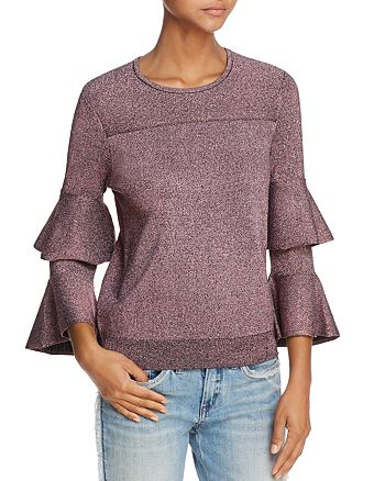 Parker - Jayla Tiered Fluted-Sleeve Sparkle Sweater