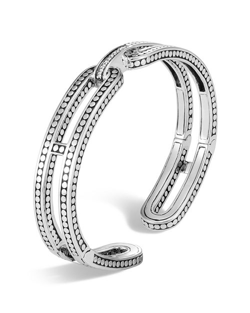 JOHN HARDY - Sterling Silver Dot Small Kick Cuff with Pavé Diamonds