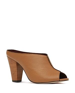 Reiss Women's Marcel Leather Peep Toe Block Heel Mules