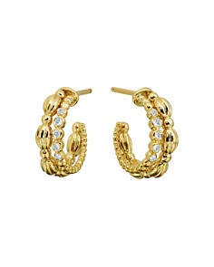 Gumuchian - 18K Yellow Gold Diamond Small Nutmeg Double Hoop Earrings