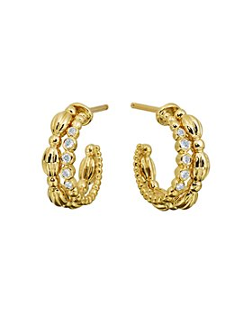 Gumuchian - 18K Yellow Gold Diamond Small Nutmeg Double Hoop Earrings
