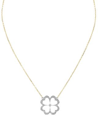 GUMUCHIAN 18K WHITE & YELLOW GOLD G BOUQITUE KELLY PAVE DIAMOND CLOVER PENDANT NECKLACE, 16