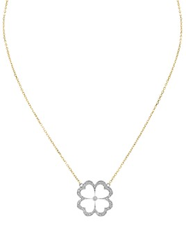 "Gumuchian - 18K White & Yellow Gold G Bouqitue Kelly Pavé Diamond Clover Pendant Necklace, 16"""
