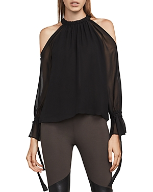 Bcbgmaxazria Fatima Cold-Shoulder Silk Chiffon Top
