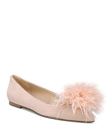 Sam Edelman - Women's Reina Suede & Feather Pom-Pom Flats