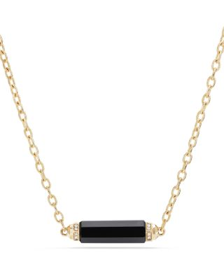 Barrels Single Station Necklace With Black Onyx & Diamonds In 18K Gold in Yellow Gold