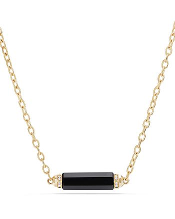 David Yurman - Barrels Single Station Necklace with Black Onyx & Diamonds in 18K Gold