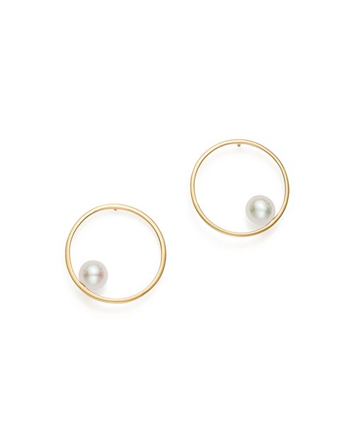 MATEO - 14K Yellow Gold Cultured Freshwater Pearl Circling Earrings