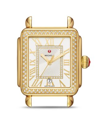 MICHELE Deco Madison Bracelet Watch With Diamonds In 18K Gold Plate in Gold/ White/ Gold