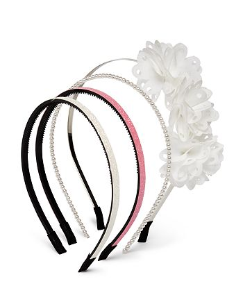 Capelli - Girls' Floral & Beaded Headbands, Set of 4