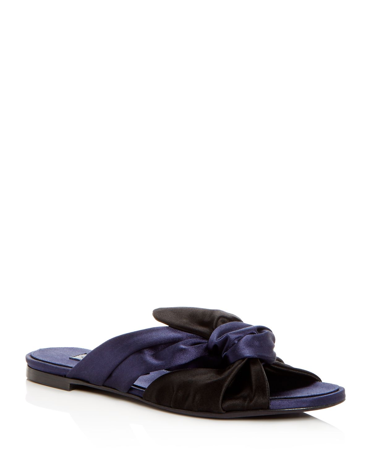Oscar de la Renta Women's Piper Knotted Satin Slide Sandals
