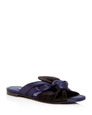 Satin Slip-On Sandals, Black/Navy