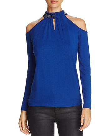 Design History - Embellished Collar Cold-Shoulder Top