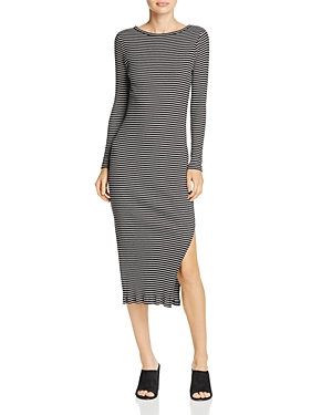 French Connection Timtim Ribbed Striped Midi Dress