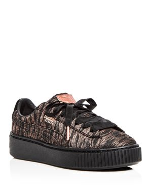 Puma Women's Basket Metallic Woven Lace Up Platform Sneakers