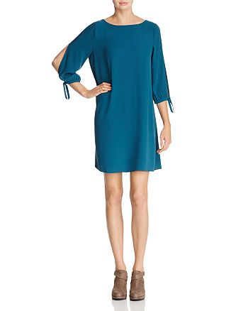 Eileen Fisher Petites - Slit-Sleeve Silk Mini Dress
