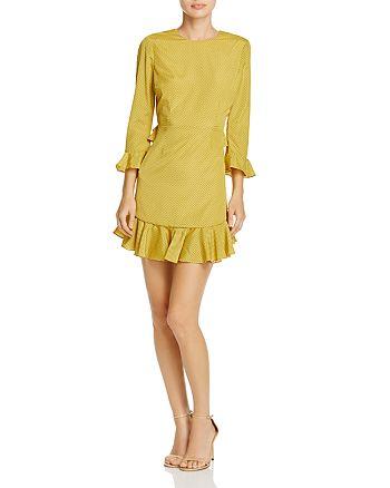 LIKELY - Sampson Ruffled Polka Dot-Print Cutout Dress