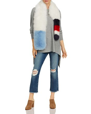 FRAME - Straight Cropped Jeans & Cara New York Faux Fur Stole - 100% Exclusive