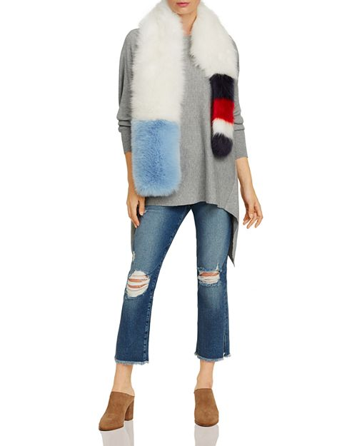 FRAME Straight Cropped Jeans & Cara New York Faux Fur Stole - 100 ...