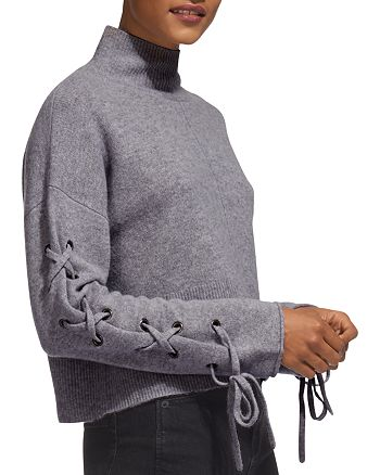 Whistles - Lace-Up Sleeve Sweater
