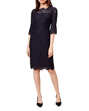 Hobbs London Vanessa Bell Sleeve Lace Sheath Dress