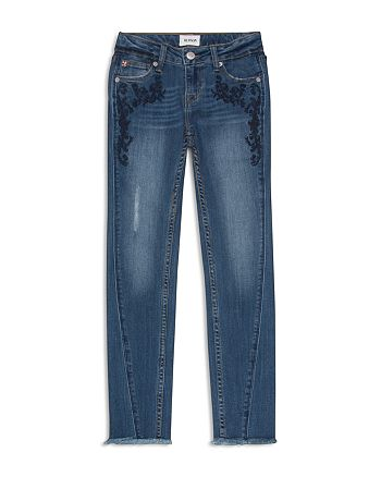 Hudson - Girls' Angled-Seam Jeans with Floral Embroidery - Big Kid