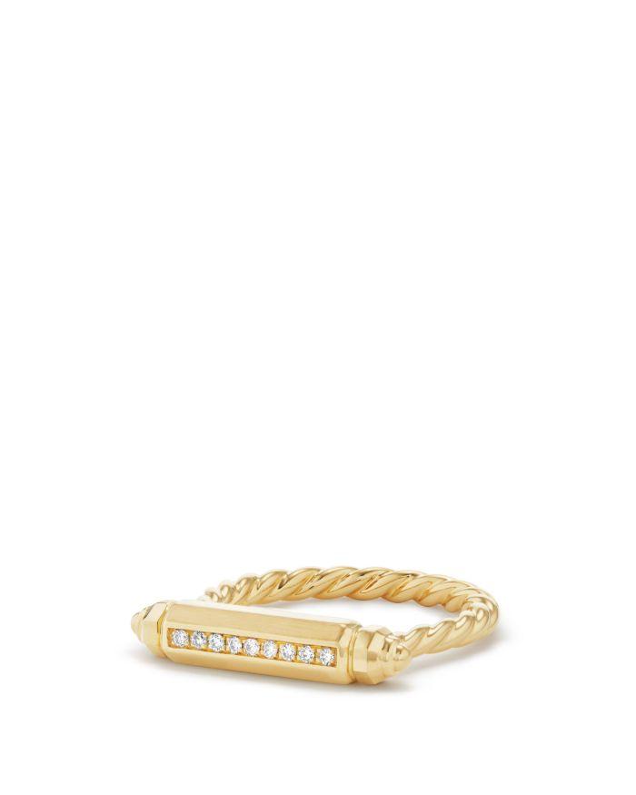 David Yurman Barrels Ring with Diamonds in 18K Gold     Bloomingdale's