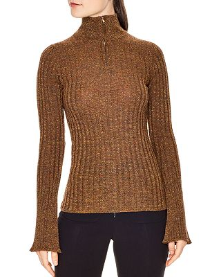 Sandro Precilia Ribbed Shimmer Sweater Bloomingdales