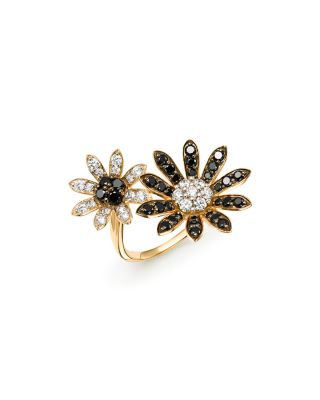 BLACK & WHITE DIAMOND FLOWER OPEN RING IN 14K YELLOW GOLD - 100% EXCLUSIVE