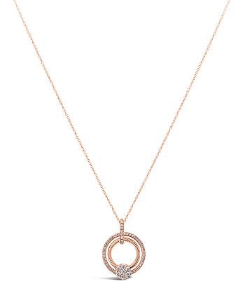 Hulchi Belluni - 18K Rose Gold Tresore Diamond Ring Pendant Necklace, 18""
